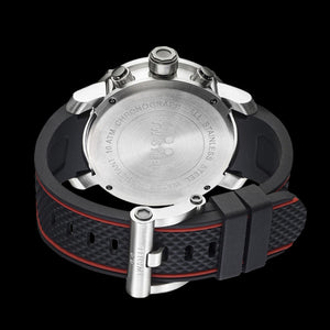 TW STEEL GRANDEUR TECH 48MM RED DIAL CHRONO SILICON WATCH TS1 - BACK VIEW