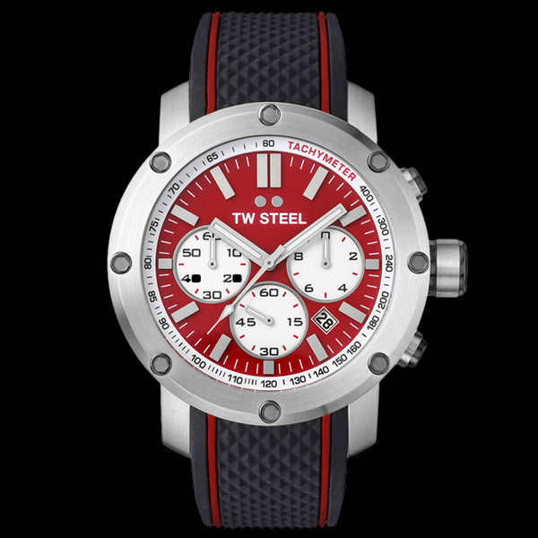 TW STEEL GRANDEUR TECH 48MM RED DIAL CHRONO SILICON WATCH TS1