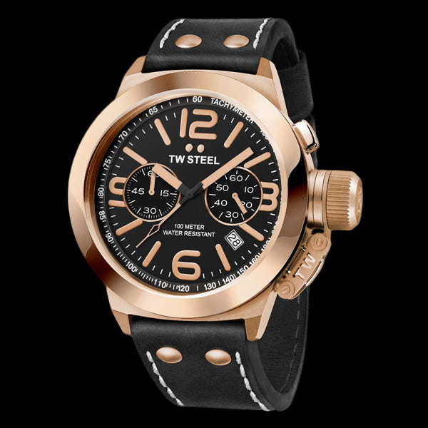 TW STEEL CANTEEN 50MM ROSE GOLD CHRONO BLACK LEATHER WATCH CS77