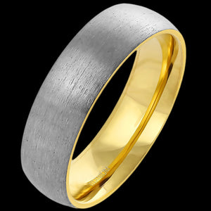 TITANIUM BRUSHED GOLD IP 6MM COMFORT FIT RING