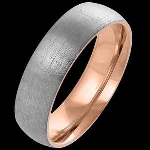 TITANIUM BRUSHED ROSE GOLD IP 6MM COMFORT FIT RING
