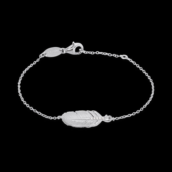 ENGELSRUFER SILVER CZ FEATHER BRACELET