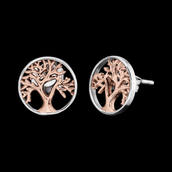 ENGELSRUFER SILVER ROSE GOLD TREE OF LIFE STUD EARRINGS