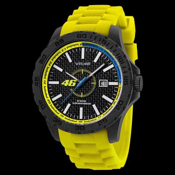 YAMAHA FACTORY RACING VALENTINO ROSSI VR46 45MM YELLOW SILICON WATCH BY TW STEEL VR2