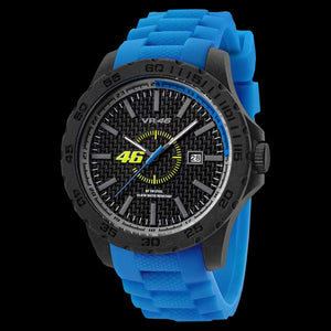 YAMAHA FACTORY RACING VR6 VALENTINO ROSSI VR46 45MM BLUE SILICON WATCH BY TW STEEL