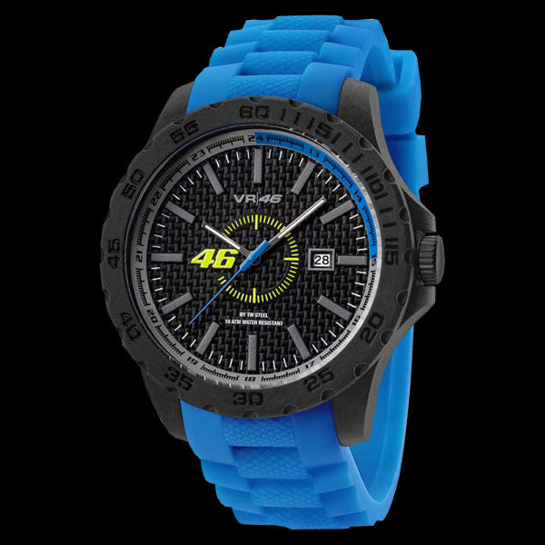 YAMAHA FACTORY RACING VALENTINO ROSSI VR46 45MM BLUE SILICON WATCH BY TW STEEL VR6