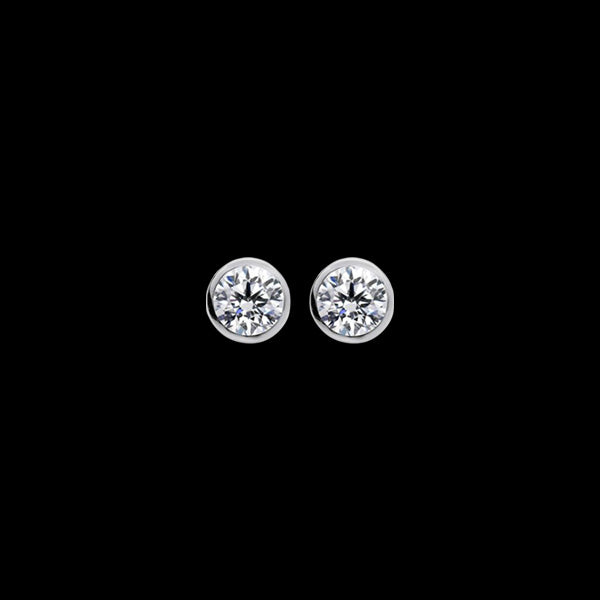 ELLANI STERLING SILVER 5MM CZ BEZEL STUD EARRINGS