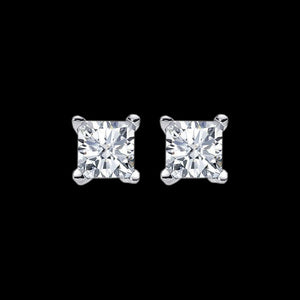 ELLANI STERLING SILVER 9MM SQUARE CZ STUD EARRINGS