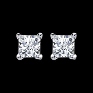 ELLANI STERLING SILVER 10MM SQUARE CZ STUD EARRINGS