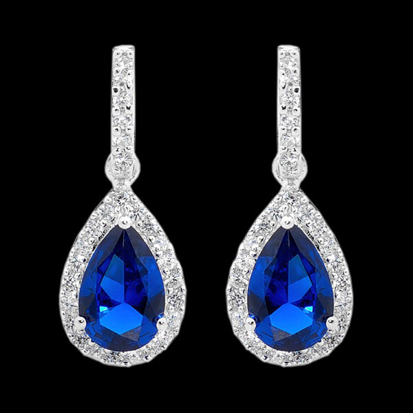 ELLANI STERLING SILVER PEAR SAPPHIRE CZ PAVE EARRINGS