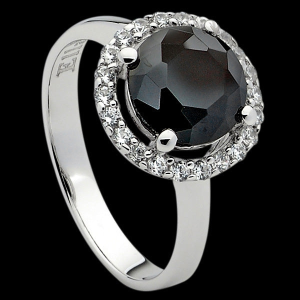 ELLANI STERLING SILVER CIRCLE BLACK CZ SOLITAIRE SURROUND RING