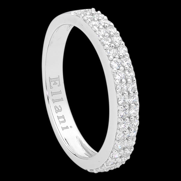 ELLANI STERLING SILVER TWO-ROW FLAT PAVE CZ RING