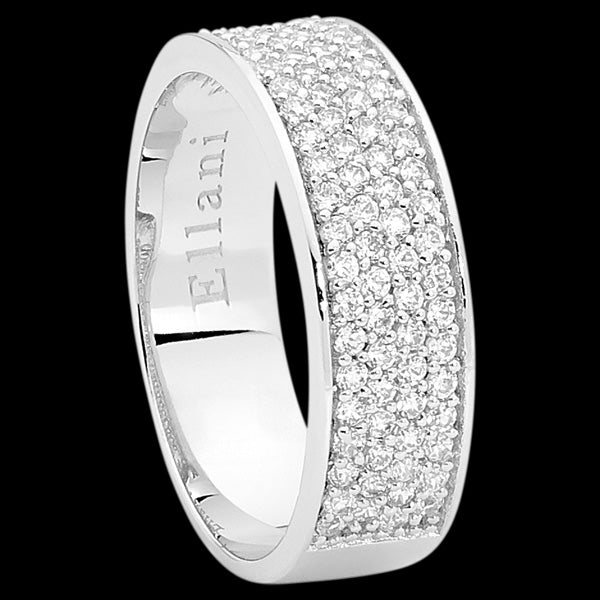 ELLANI STERLING SILVER 4-ROW PAVE CZ BAND RING