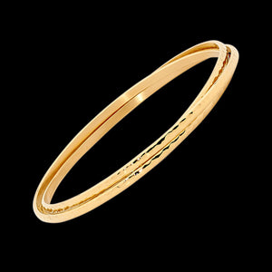 ELLANI STAINLESS STEEL GOLD HAMMERED RUSSIAN TRIO BANGLE