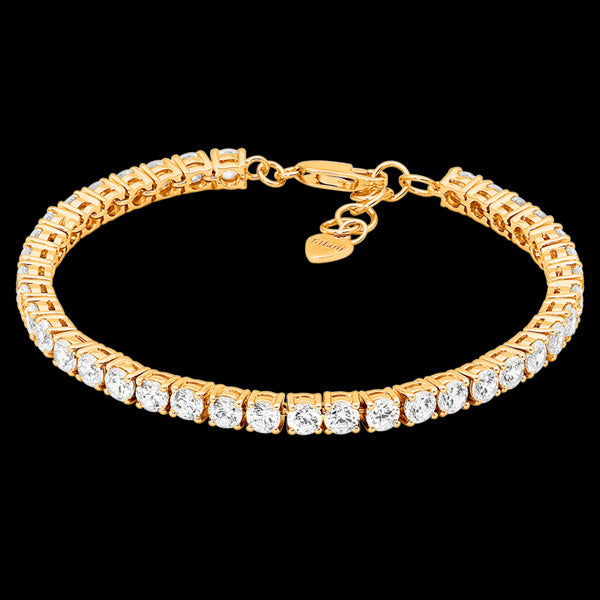 ELLANI STERLING SILVER GOLD 4MM SQUARE SET CZ TENNIS BRACELET