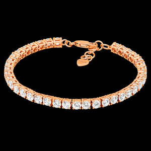 ELLANI STERLING SILVER ROSE GOLD 4MM SQUARE SET CZ TENNIS BRACELET