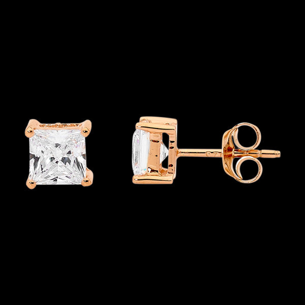 ELLANI STERLING SILVER ROSE GOLD 5MM SQUARE CZ STUD EARRINGS