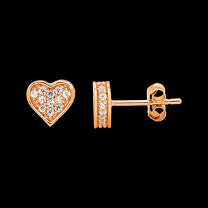 ELLANI STERLING SILVER ROSE GOLD PAVE BOX HEART EARRINGS