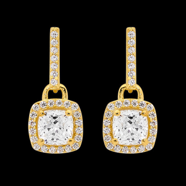 ELLANI STERLING SILVER GOLD CUSHION CUT CZ SURROUND EARRINGS