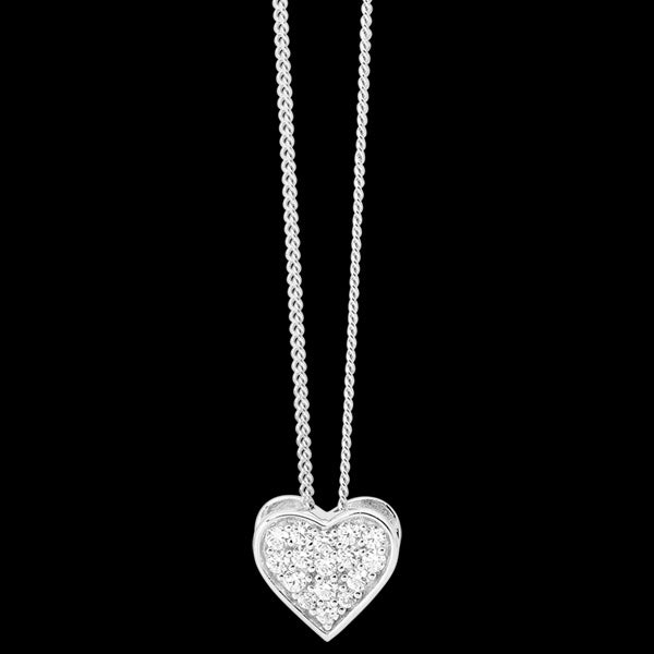 ELLANI STERLING SILVER PAVE BOX HEART NECKLACE