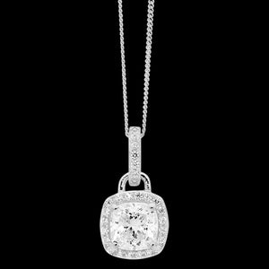 ELLANI STERLING SILVER CUSHION CUT CZ SURROUND NECKLACE