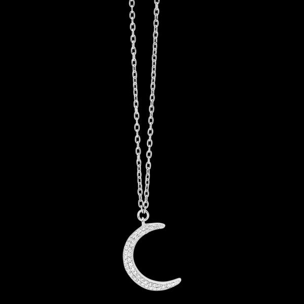 ELLANI STERLING SILVER CRESCENT MOON PAVE CZ NECKLACE