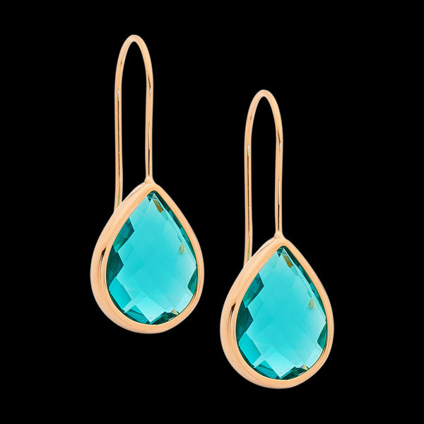 ELLANI STAINLESS STEEL ROSE GOLD IP TURQUOISE GLASS PEAR HOOK EARRINGS