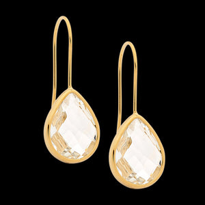ELLANI STAINLESS STEEL GOLD IP CLEAR GLASS PEAR HOOK EARRINGS