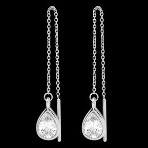 ELLANI STAINLESS STEEL PEAR CZ THREAD EARRINGS
