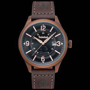 TIMBERLAND BLAKE ANTIQUE ROSE BLACK DIAL BROWN LEATHER WATCH