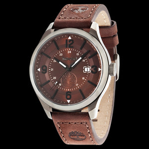 TIMBERLAND BLAKE GUNMETAL BROWN DIAL BROWN LEATHER WATCH