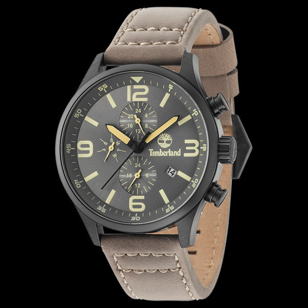 TIMBERLAND RUTHERFORD BLACK DIAL GREY LEATHER WATCH