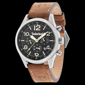 TIMBERLAND ASHMONT BLACK DIAL BROWN LEATHER WATCH