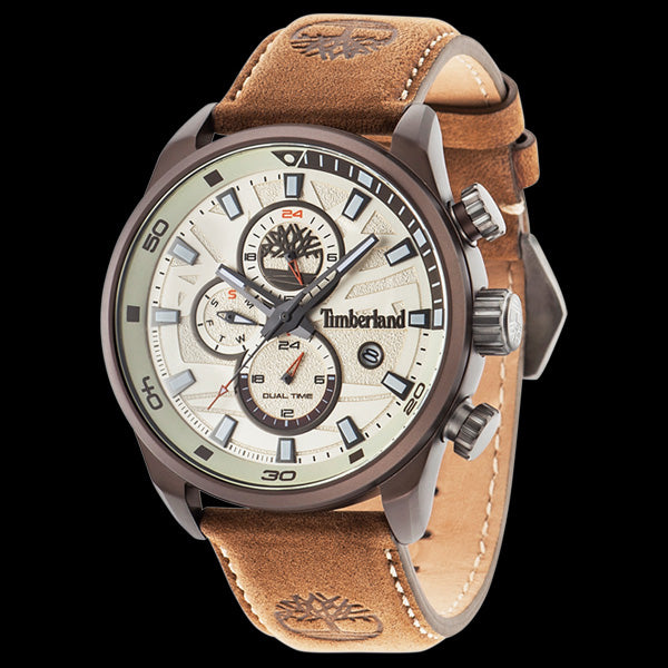 TIMBERLAND HENNIKER II GUNMETAL BEIGE DIAL BROWN LEATHER WATCH