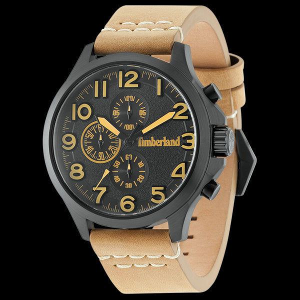 TIMBERLAND BRENTON BLACK DIAL TAN LEATHER WATCH