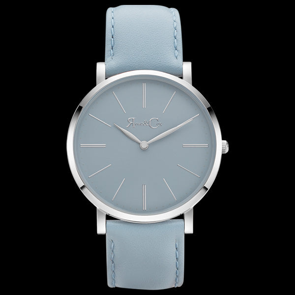 4f3a0f7afcf42 ROSE   COY Pinnacle 40mm SILVER LIGHT BLUE WATCH