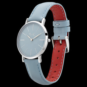 ROSE & COY MINI PINNACLE 34MM SILVER LIGHT BLUE WATCH - ANGLE VIEW