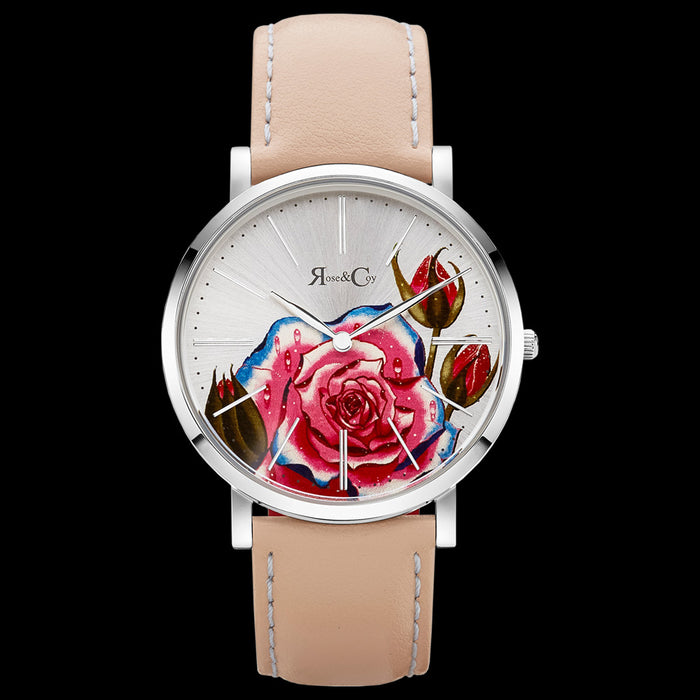 ROSE & COY ART SERIES PINK ROSE 40MM SILVER PEACH WATCH