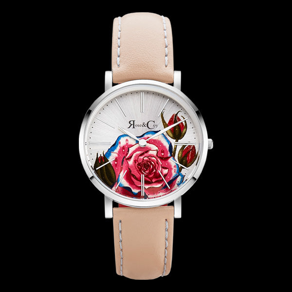 ROSE & COY ART SERIES PINK ROSE 34MM SILVER PEACH WATCH