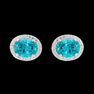 ELLANI STERLING SILVER OVAL PAVE HALO AQUAMARINE EARRINGS