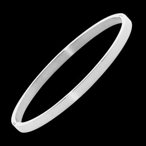 ELLANI STAINLESS STEEL 4MM FLAT HINGED BANGLE
