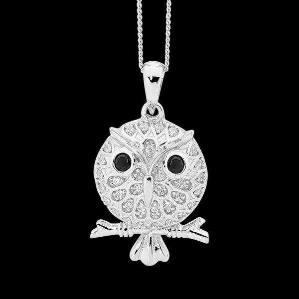 ELLANI STERLING SILVER PUFF OWL ON PERCH CZ NECKLACE