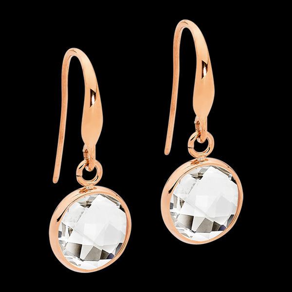 ELLANI STAINLESS STEEL ROSE GOLD CLEAR GLASS CIRCLE DANGLE HOOK EARRINGS