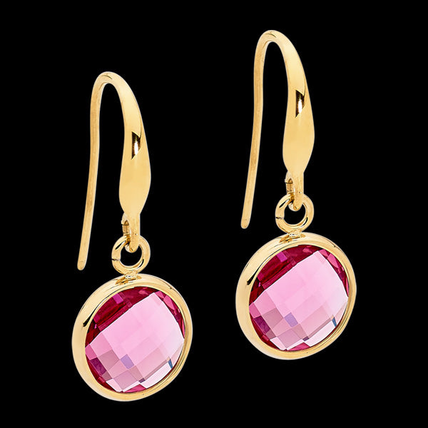 ELLANI STAINLESS STEEL GOLD PINK GLASS CIRCLE DANGLE HOOK EARRINGS