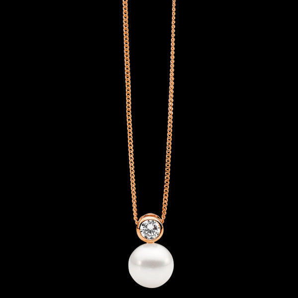 ELLANI STERLING SILVER ROSE GOLD BEZEL CZ SOLITAIRE PEARL NECKLACE