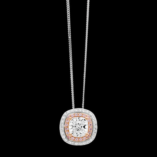 ELLANI STERLING SILVER ROSE GOLD DOUBLE HALO CUSHION CZ NECKLACE