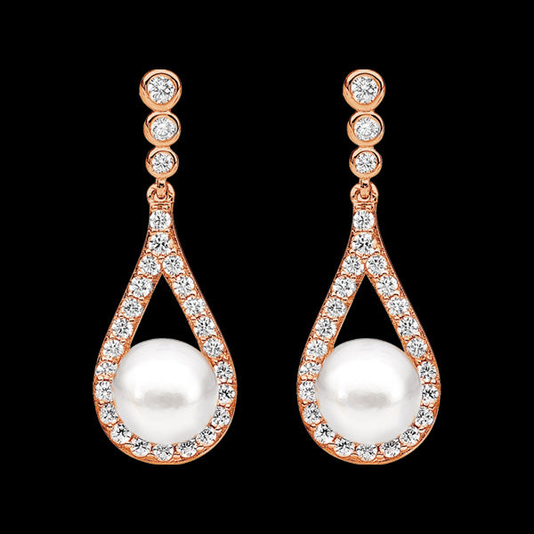 ELLANI STERLING SILVER ROSE GOLD OPEN DROPLET BEZEL CZ PEARL EARRINGS