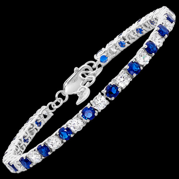 ELLANI STERLING SILVER 4MM SQUARE SET SAPPHIRE CZ TENNIS BRACELET