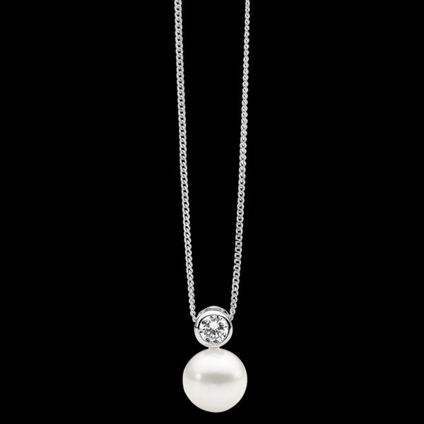 ELLANI STERLING SILVER BEZEL CZ SOLITAIRE PEARL NECKLACE