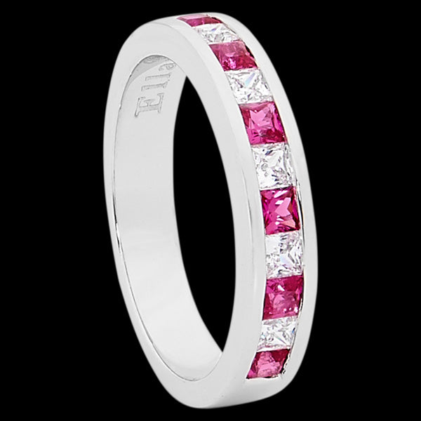 ELLANI STERLING SILVER ETERNITY PINK CZ CHANNEL RING